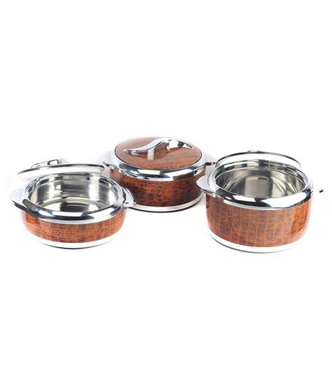 Brown Set Rishabh Brown Polypropylene Casserole Set Of 3 Buy