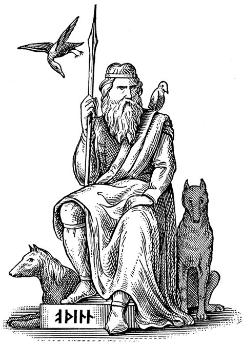 woden or odin germanic and norse god seated with his