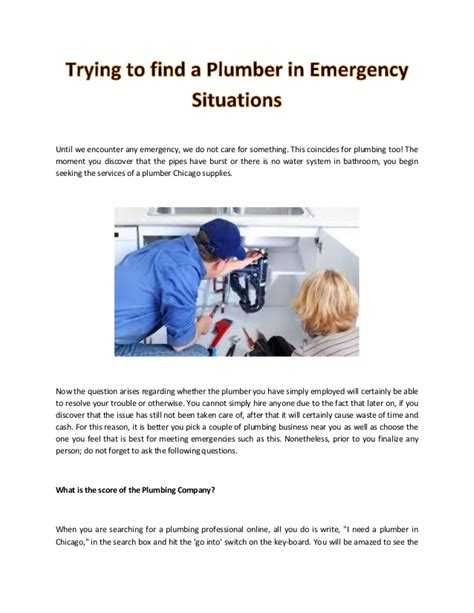Find A Plumber Trying To Find A Plumber In Emergency Situations