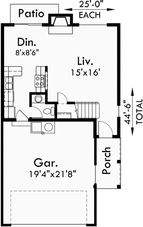 25 wide house plans duplex house plans 25 ft wide house plans d 477