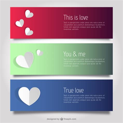 banner design love love and hearts banner templates vector free download