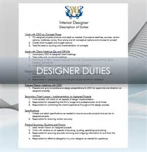 Home Design Job Description by Doc 12751650 Interior Designer Job Description Home