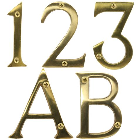 large solid brass numbers letters  screws mm