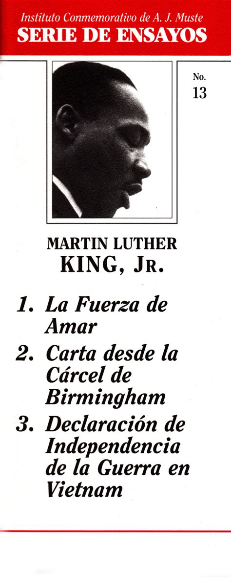 Martin Luther Essays by Essays By Martin Luther King Jr War Resisters League