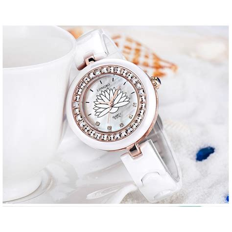 Jam Tangan Local Brand top brand longbo jam tangan wanita mewah jam tangan keramik warna gold elevenia