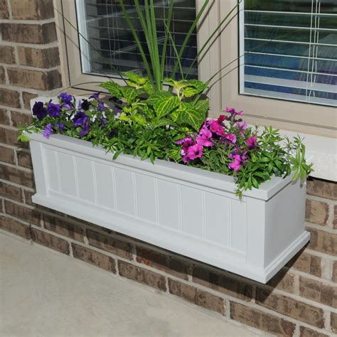 window planter mayne 11 in x 48 in white cape cod window box 4841 w the home depot