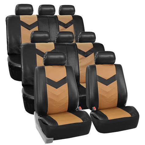 3 Seat Covers by 3 Row Car Seat Covers Leather 8 Seater Suv Set Beige