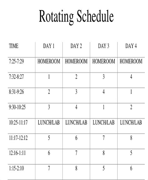 rotating schedule template rotating schedule templates 10 free sles exles