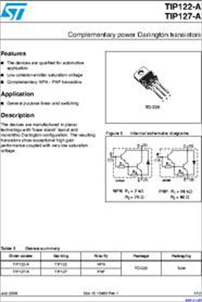 transistor tip122 datasheet tip122 a datasheet transistors power bipolar complementary power darlington