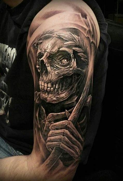 tattoo reaper designs grey ink skull grim reaper on left half sleeve