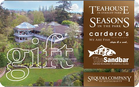 Vancouver Restaurant Gift Cards - the teahouse online gift card electronic delivery coincards ca