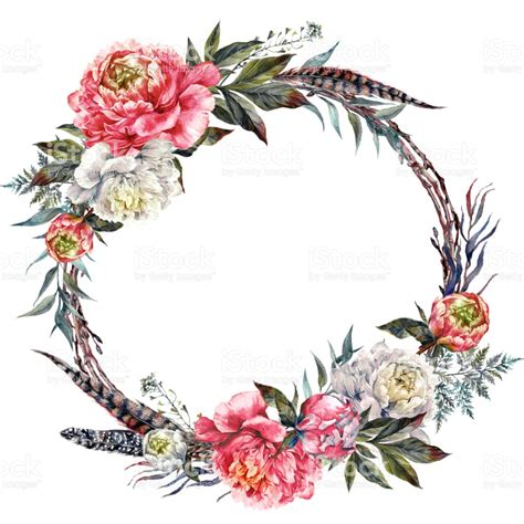 watercolor boho peony wreath stock vector art amp more