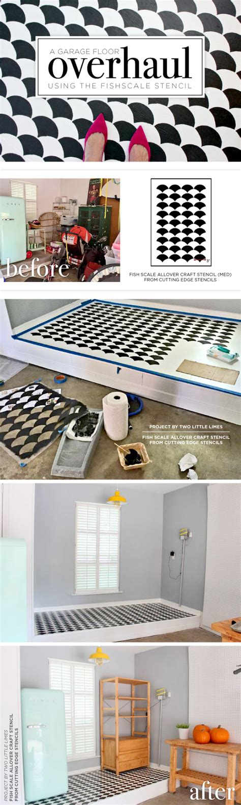 Garage Floor Stencils by A Garage Floor Overhaul Using The Fishscale Stencil