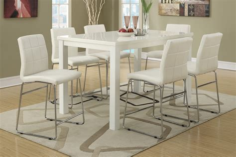high dining table set 7pc modern high gloss white counter height dining table set