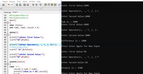 calculator using switch case c program for calculator using switch case programming