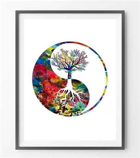 watercolor yin yang tattoo yin yang tree watercolor print yin yang tree symbol by