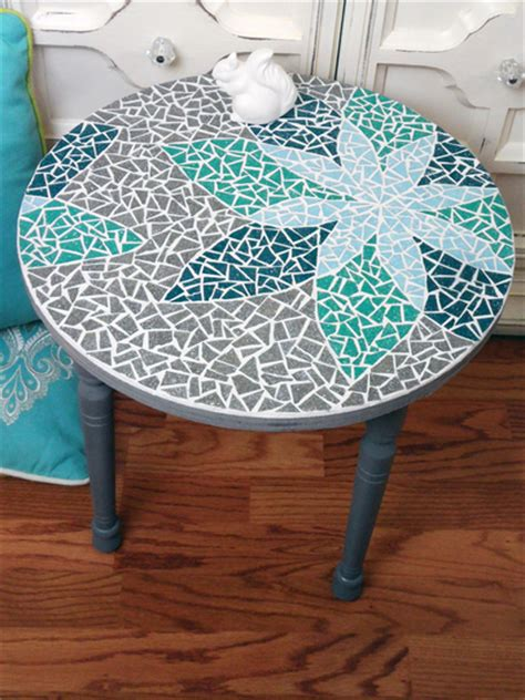 how to make a glass mosaic table top how to mosaic a table with a design curious com