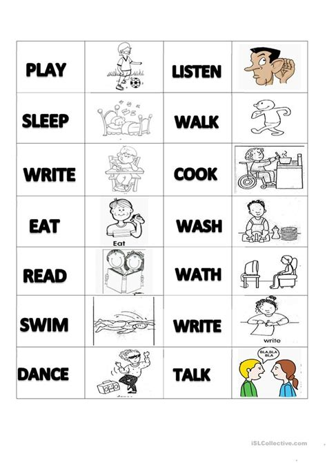 Memory Worksheets by Verbs Memory Cards Worksheet Free Esl Printable