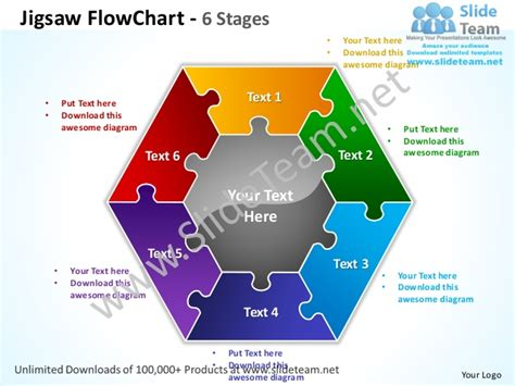 flow chart template in powerpoint jigsaw flowchart 6 stages powerpoint templates 0712