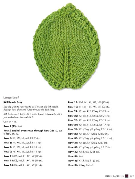 how to knit a leaf shape 30 easy knitting and crochet patterns for beginners