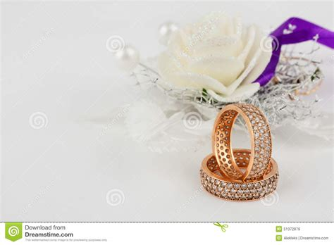 wedding background ring a pair of wedding rings on wedding background stock image
