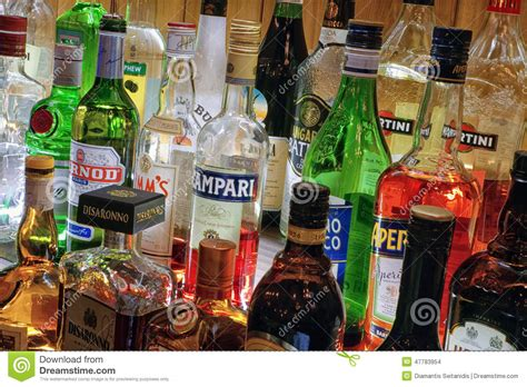 collection of alcoholic drinks editorial stock image