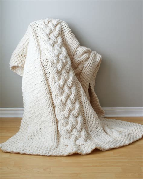 Knitting Patterns For Rugs Throws by Chunky Cable Acrylic Throw Blanket By Erin
