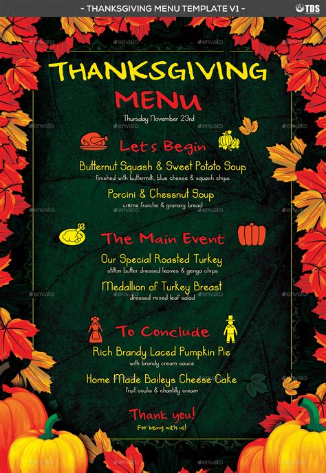 Thanksgiving Menu Template V1 By Lou606 Graphicriver Menu Template For Thanksgiving