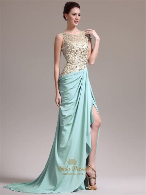 blue and gold l blue and gold prom dress