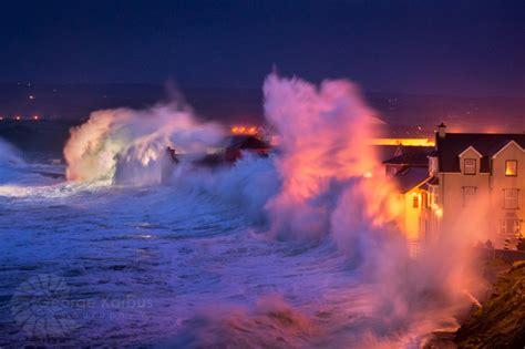 waves of hurricane hercules hitting promenade