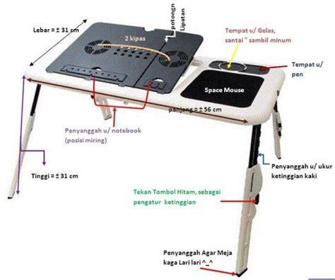 Meja Laptop Portable E Table Laptop Desk With Mini Fan Cooler Ringan meja laptop e table notebook lipat portable e table