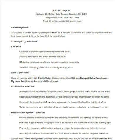 event manager sle resume sle event coordinator resume 8 exles in word pdf