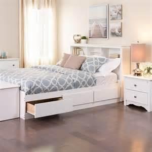 Monterey white double full bookcase platform storage bed ebay