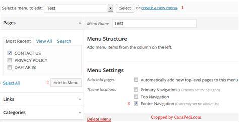blogger dan wordpress tutorial cara membuat menu pada blog wordpress