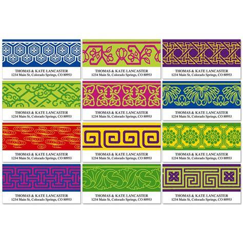 colorful images address labels border pattern deluxe return address labels colorful images