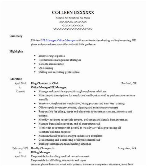 Chiropractic Office Manager Resume Sle 100 Chiropractic Office Manager Resume Sle Skills