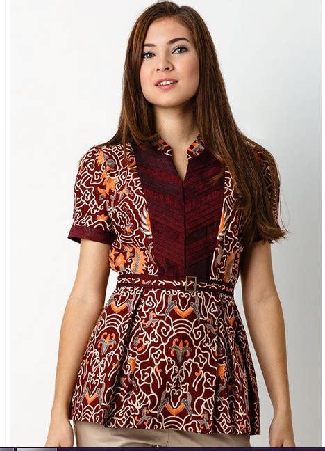 Atasan Blouse Muslim Wanita Dress Bagus Modern Ah00117 Murah Grosir model baju batik wanita lengan pendek modern
