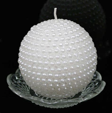 Tuscan Home Decor Catalog by 3 Quot White Pearl Ball Candle On Glass Dish Candles And