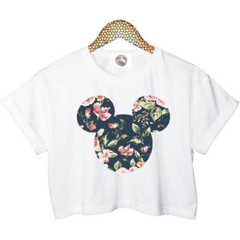 I Mickey Crop Rumbai Tshirt top t shirt crop tops disney floral white