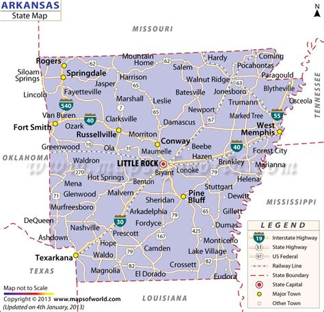 map of usa with arkansas arkansas state map