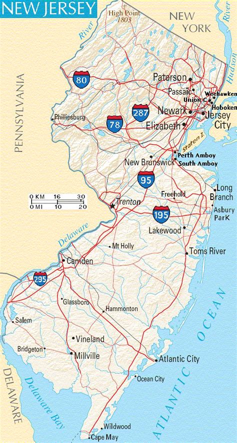 road map new jersey usa new jersey maps