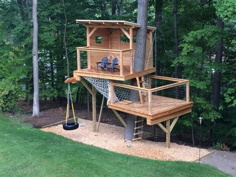 backyard tree house kits backyard treehouse for kids plans and designs