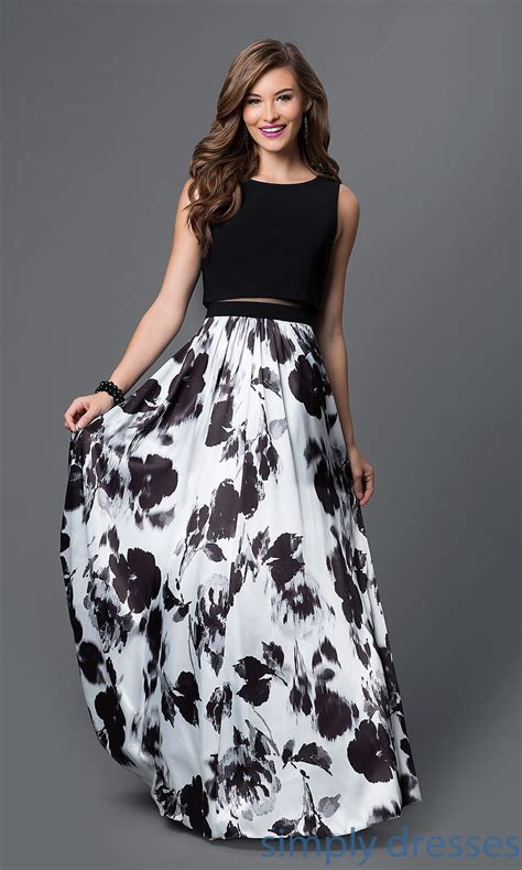 black and white clothing pattern mock two piece floral print black and white dress formal