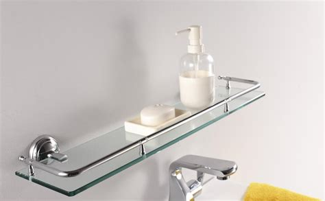 glass shelf bathroom decor