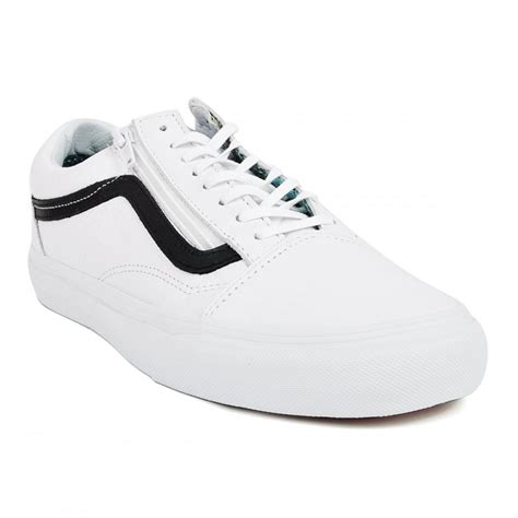 Vans Oldskool White Premium vans premium leather skool zip trainers white black