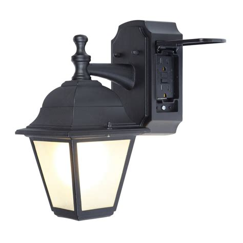 outdoor light fixture with gfci outlet shop portfolio gfci 11 81 in h black outdoor wall light at