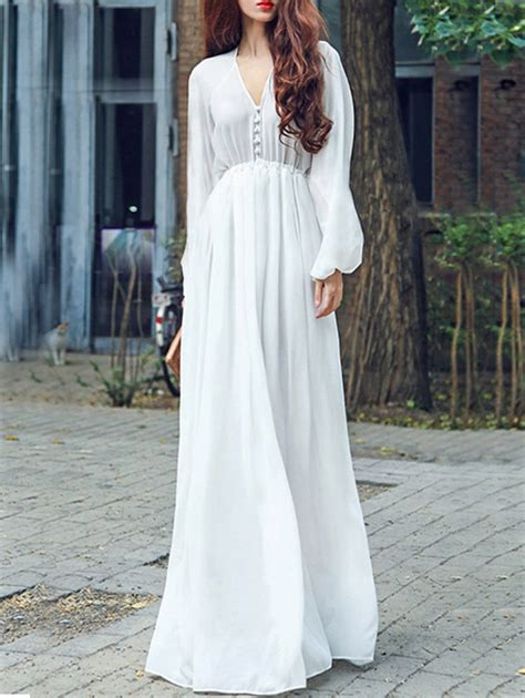 V Neck Chiffon Dress white v neck sleeve chiffon dress