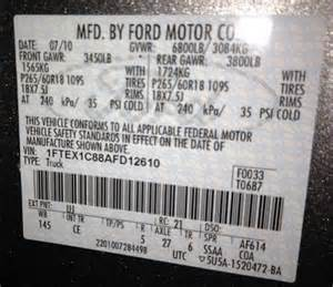 Ford Explorer Axle Codes Identify Your Ford Truck Axle From The Door Sticker Blue