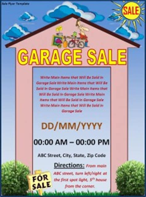 15 Free Yard Sale Flyers Of Great Help Demplates Garage Sale Sign Template Word