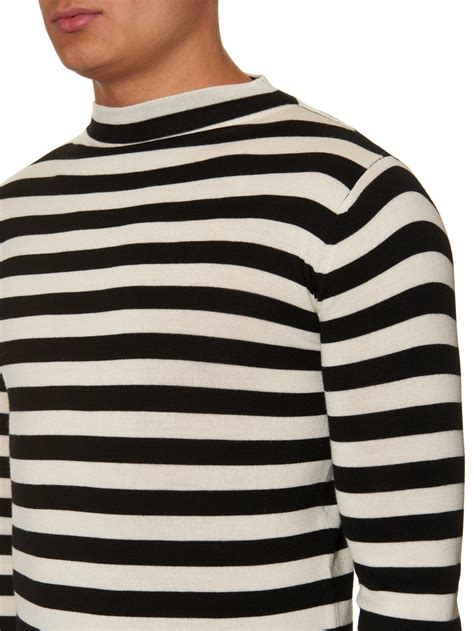 20110 Black White Cardigan lyst laurent high neck striped wool knit sweater in white for